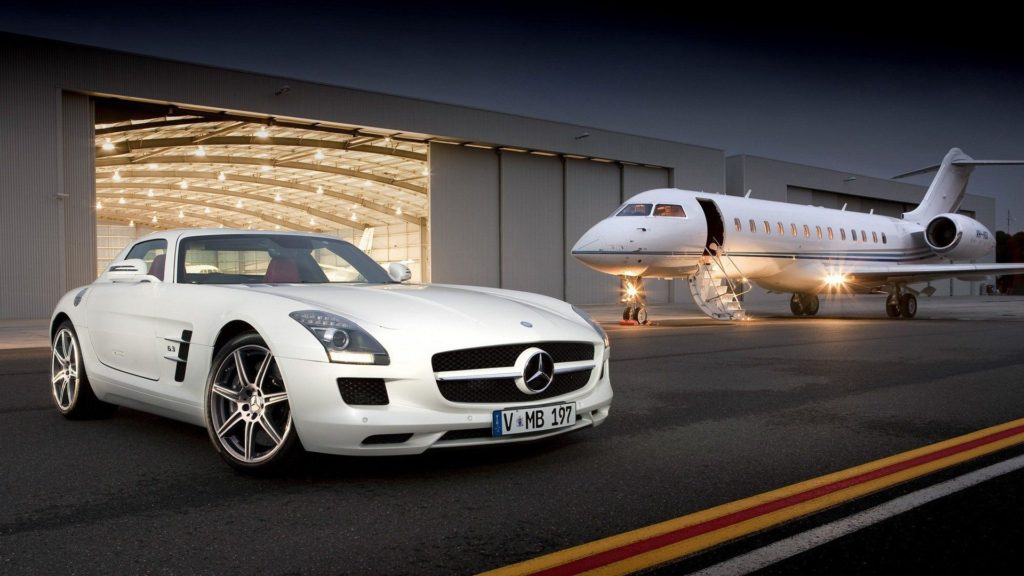 private-jet-and-mercedes-sls-amg-1920x1080